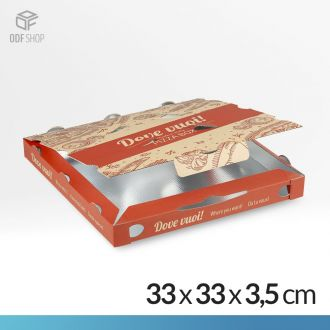 Dove vuoi! Scatola pizza 33x33 con interno in pet metallizzato - Grafica Trancio